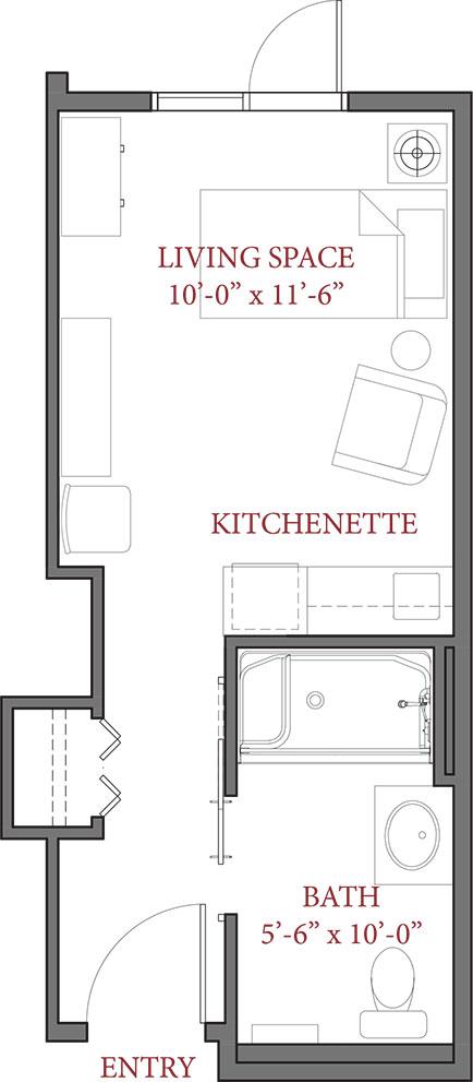New Affordable Studio 260 SQ FT - Luxstone Senior Living Community