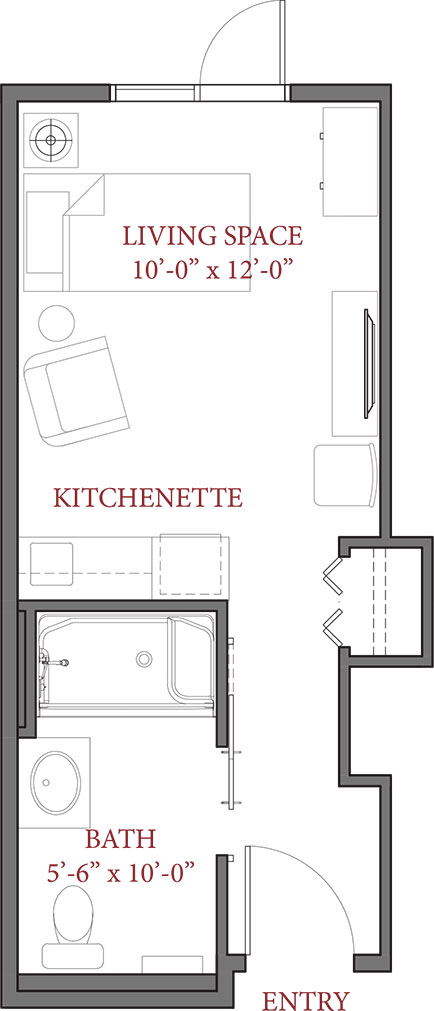 New Affordable Studio 265 SQ FT - Luxstone Senior Living Community